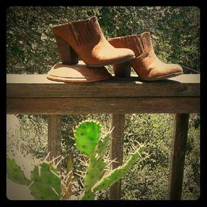 Brown mule booties Carlos!
